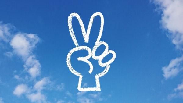 Vサイン、「はさみ」「2つのことができる」イメージ