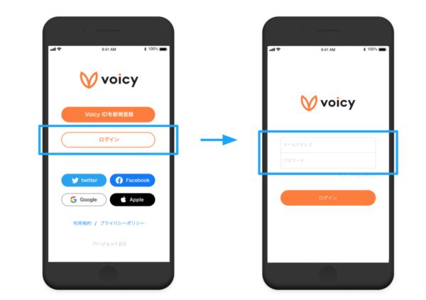 Voicy(ボイシー)のログイン画面